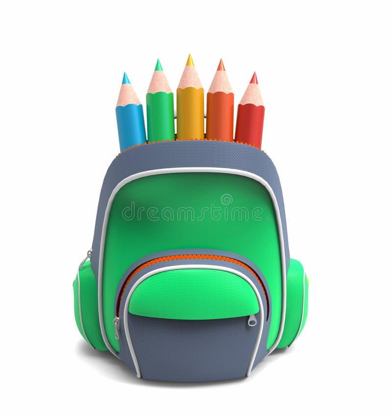 Szkolny plecak z ołówkami ilustracji