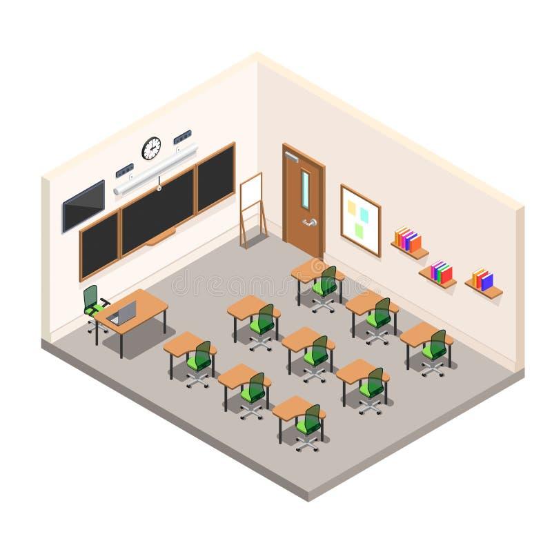 Szkolny pokój dla nauki, sala lekcyjna z biurkami i zarząd szkoły, ilustracja wektor