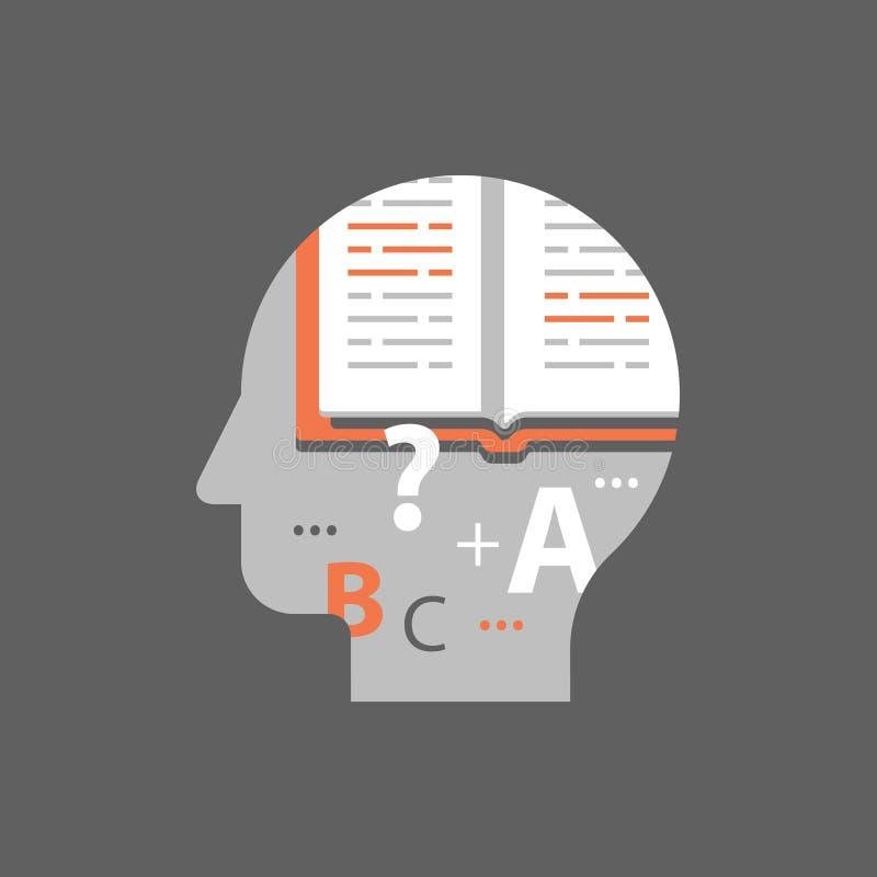 Szkolny przydział, edukaci pojęcie, otwarta tekst książka, egzaminu przygotowanie, nauka temat, przeglądowa wiedza, jaźń uczenie ilustracja wektor