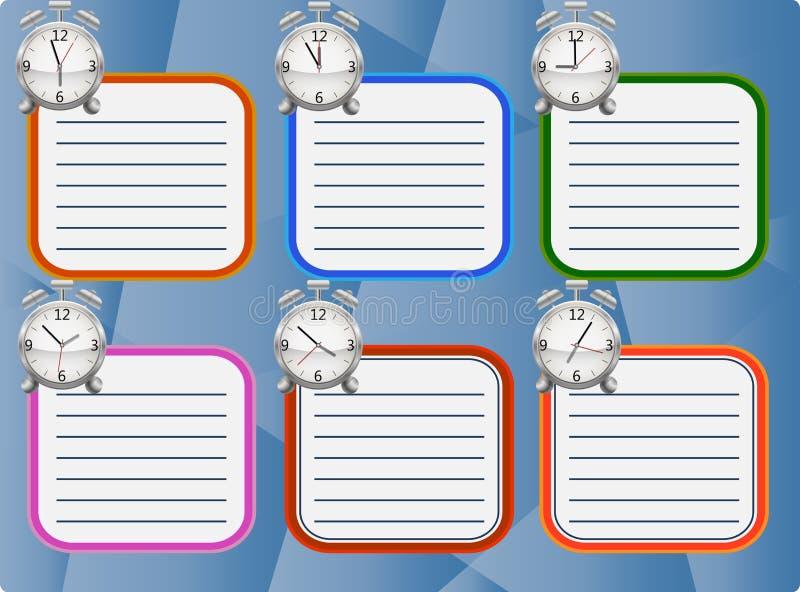 Szkolny rozkład dla sześć dni z alarmami pokazuje różnych czasy na błękitnym tle ilustracja wektor