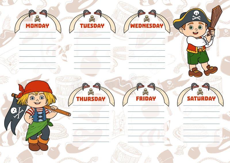 Szkolny rozkład zajęć dla dzieci z dniami tydzień Piraci ilustracja wektor