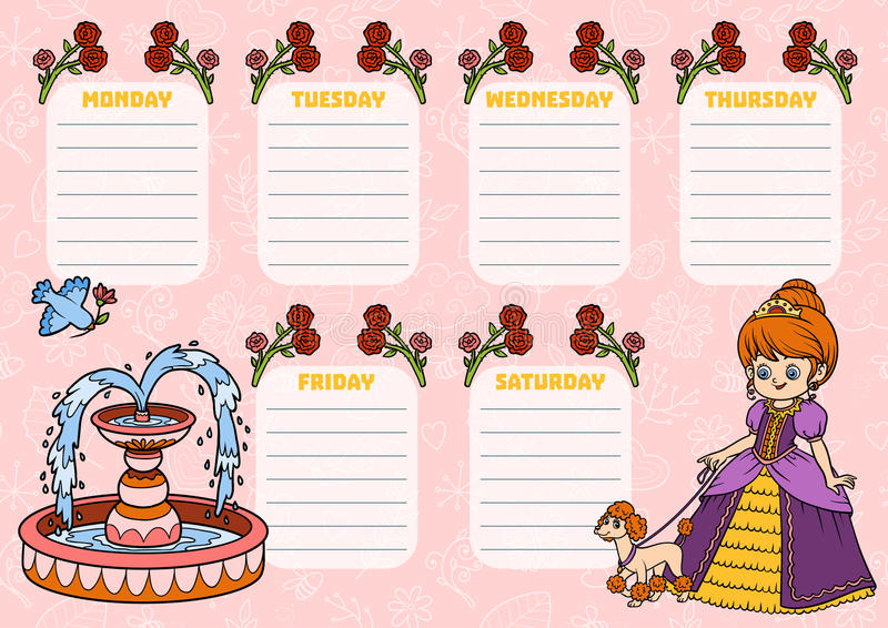 Szkolny rozkład zajęć dla dzieci z dniami tydzień princess ilustracji