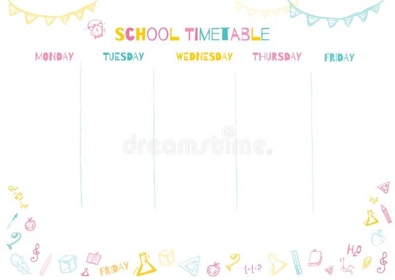 Szkolny rozkład zajęć dla uczni lub uczni z 5 dniami tydzień z doodle kolorowymi szkolnymi dostawami Organizuje twój dzień ilustracja wektor