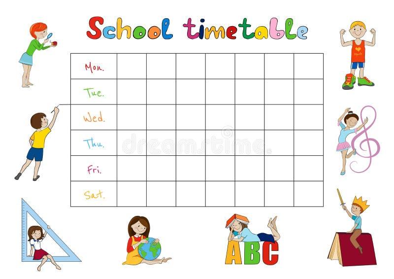 Szkolny rozkład zajęć, dzieciaka planisty tygodniowy wektor ilustracja wektor