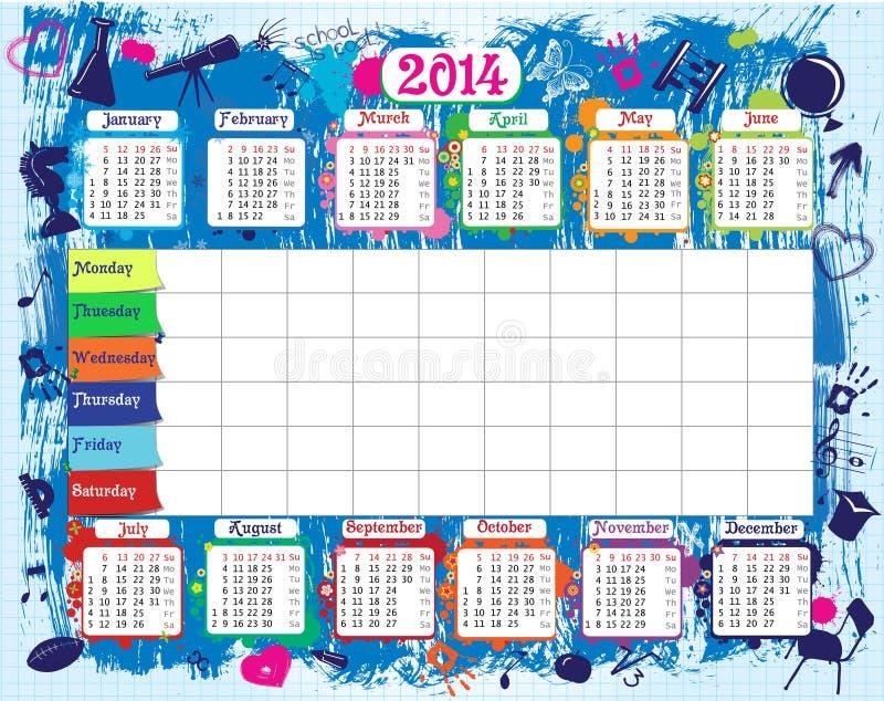 Szkolny rozkład zajęć i kalendarz ilustracja wektor