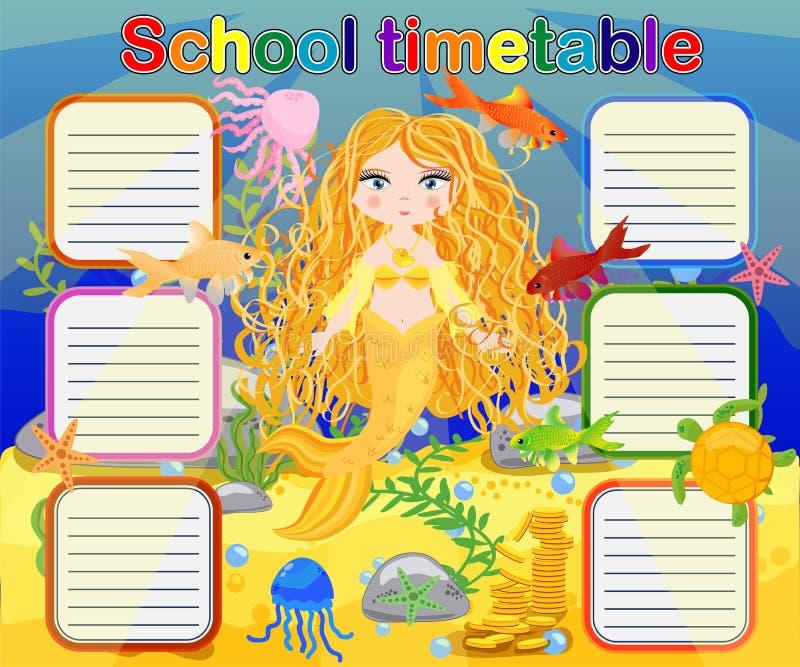 Szkolny rozkład zajęć szablon dla plakata, notatka, książka, memorypad z syrenka tematu ilustracją ilustracji