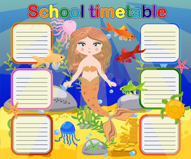 Szkolny rozkład zajęć szablon dla plakata, notatka, książka, memorypad z syrenka tematu ilustracją ilustracja wektor