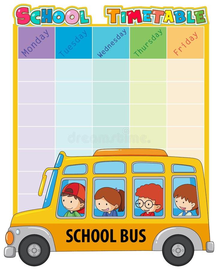 Szkolny rozkład zajęć szablon z autobusem i dzieciakami ilustracji