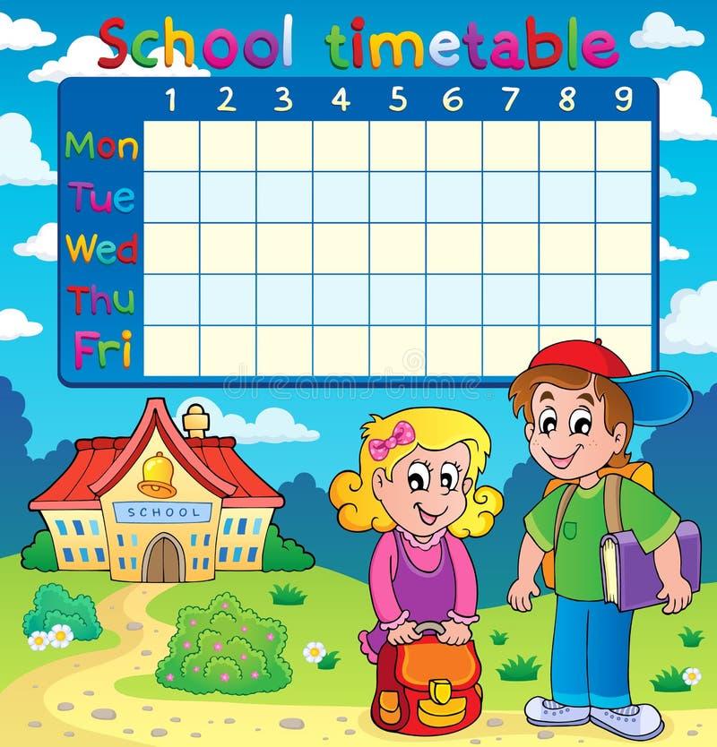 Szkolny rozkład zajęć z dwa dziećmi ilustracja wektor