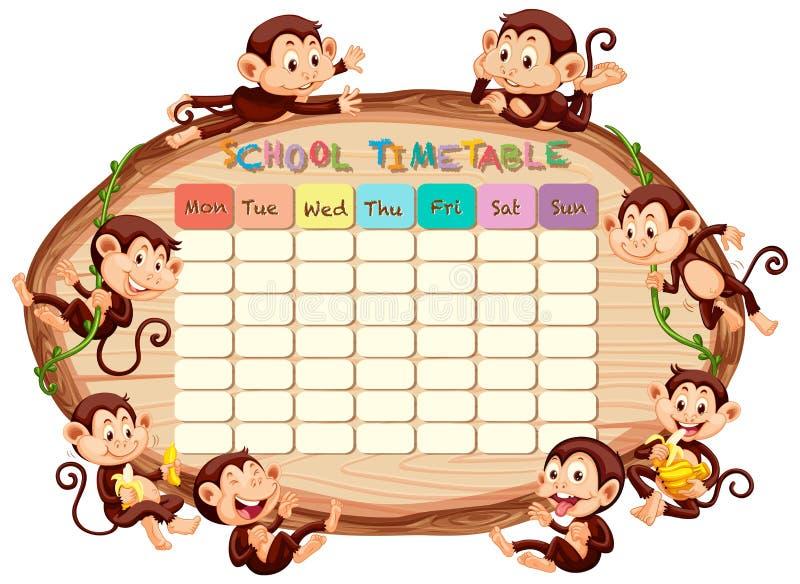 Szkolny rozkład zajęć z małpami ilustracji
