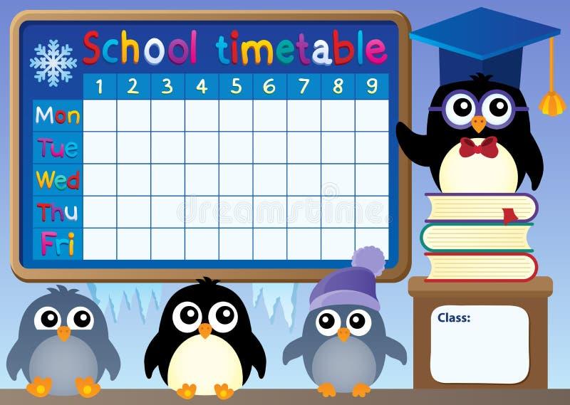 Szkolny rozkład zajęć z pingwinami ilustracji