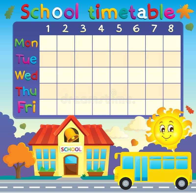 Szkolny rozkład zajęć z szkołą i autobusem ilustracja wektor