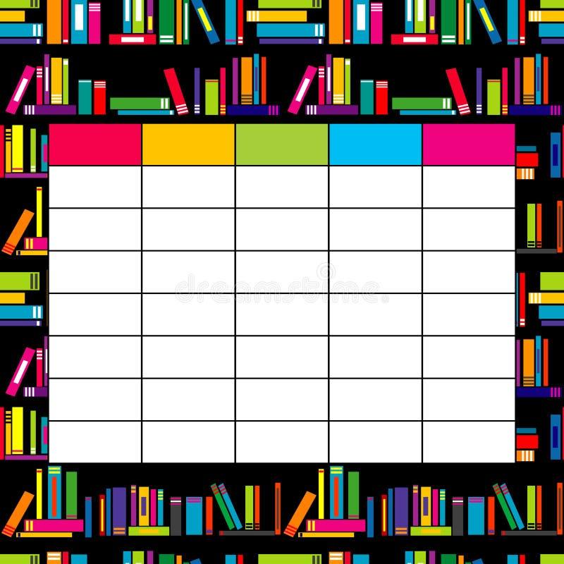 Szkolny rozkładu zajęć szablon z książkami dla uczni i uczni ilustracji