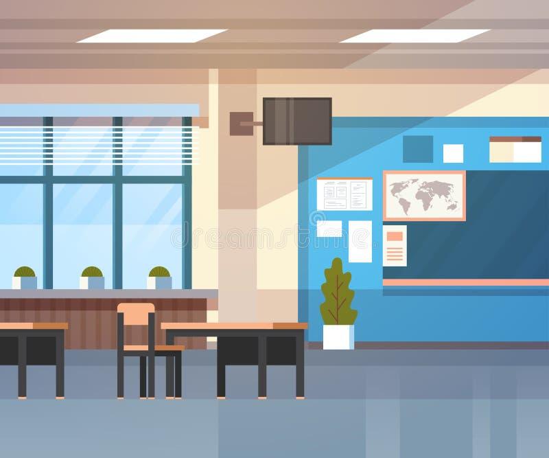 Szkolny sala lekcyjnej wnętrza deski biurko Nad Nadokiennym tłem ilustracja wektor