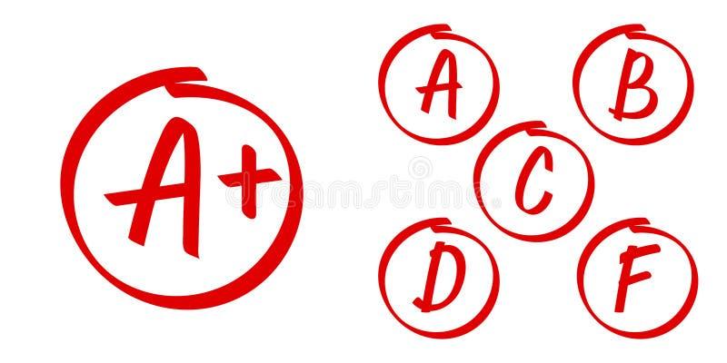Szkolny stopień wynika wektorowe ikony Listy plus stopień ocen czerwony okrąg i royalty ilustracja