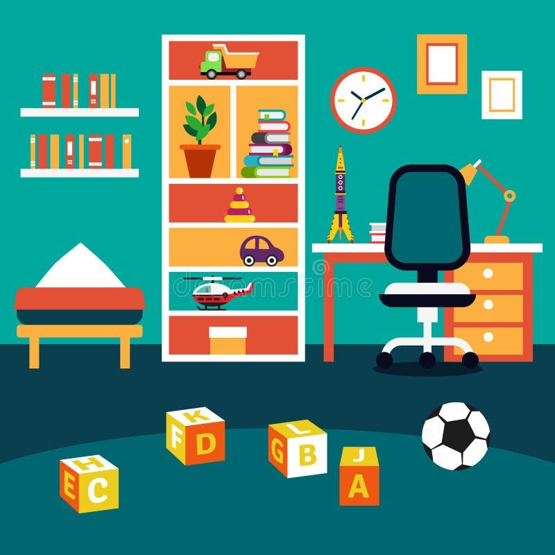 Szkolny studencki chłopiec dzieciaka pokoju wnętrze ilustracja wektor