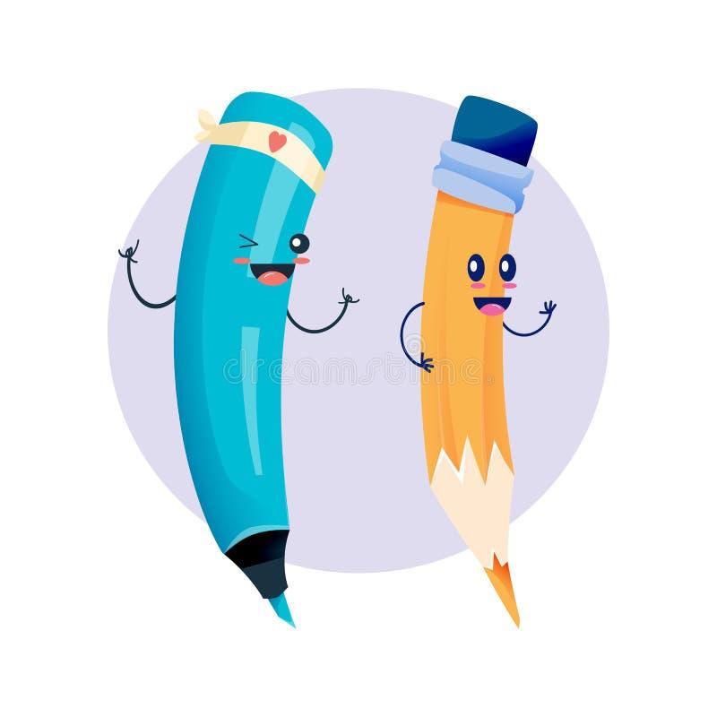 Szkolny szczęśliwy radosny dancingowy markier i ołówek z twarzą ilustracji