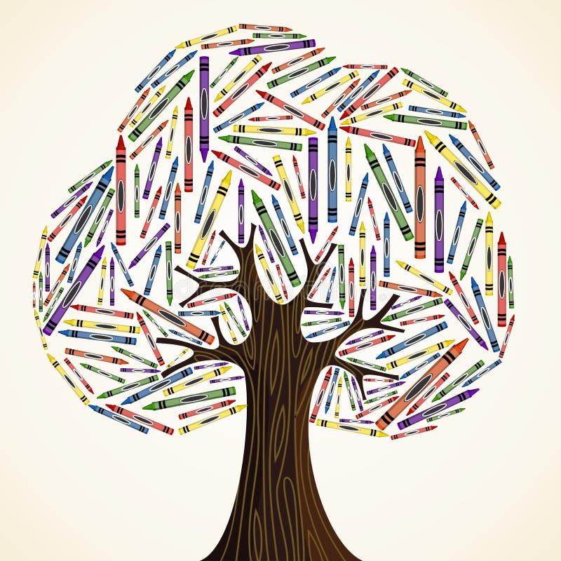 Szkolny sztuki edukaci pojęcia drzewo ilustracja wektor