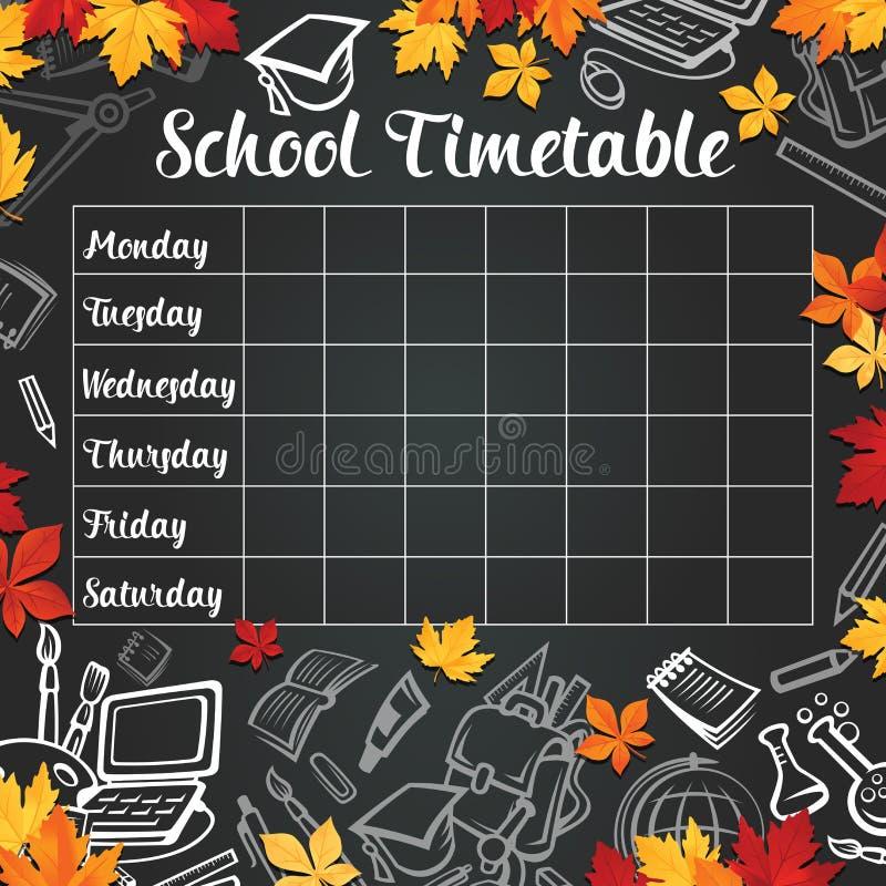 Szkolny wektorowy tygodniowy rozkład zajęć na czarnym chalkboard royalty ilustracja