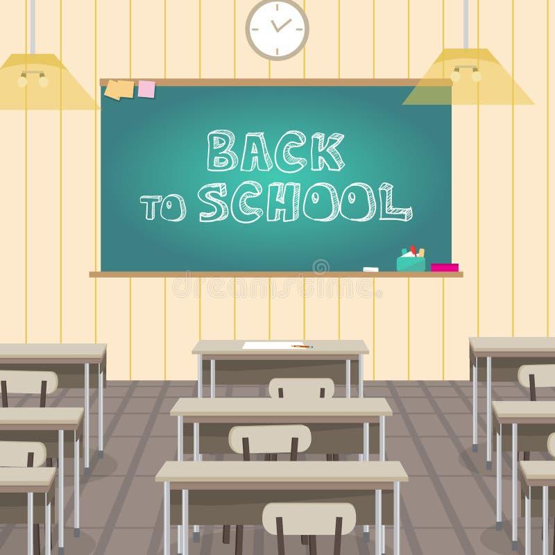 Szkolny wnętrze jest klasowy z zarządem szkoły i biurkami Wektorowy fla ilustracja wektor