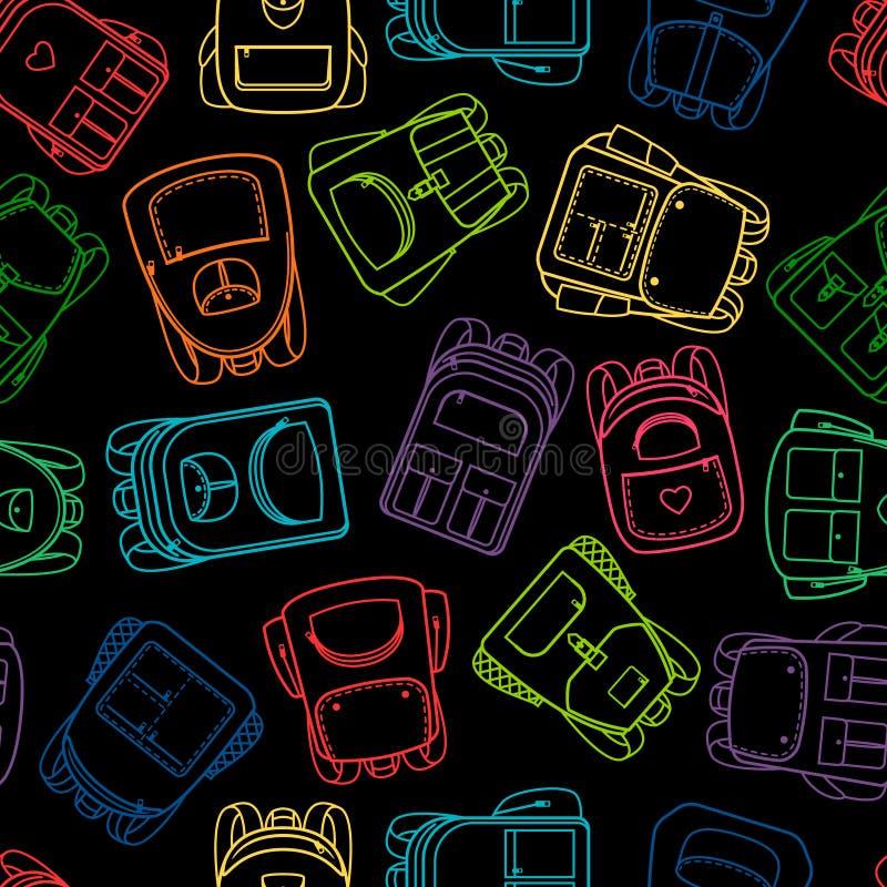 Szkolny wzór z liniowymi kolorowymi backpaks ilustracja wektor