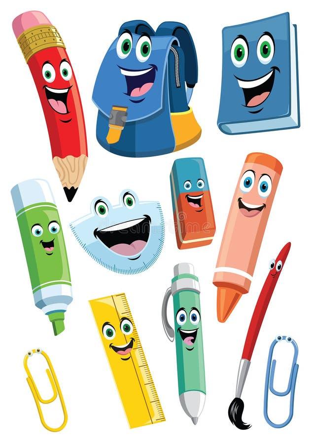 Szkolnych dostaw postać z kreskówki - set ilustracji