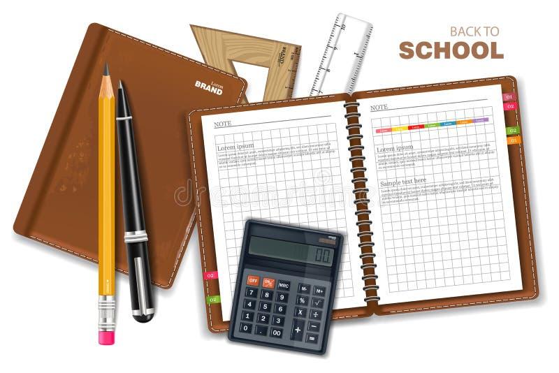 Szkolnych dostaw wektor realistyczny Kalkulator, nutowa książka, władcy i piór narzędzia, Szczegółowe 3d ilustracje royalty ilustracja