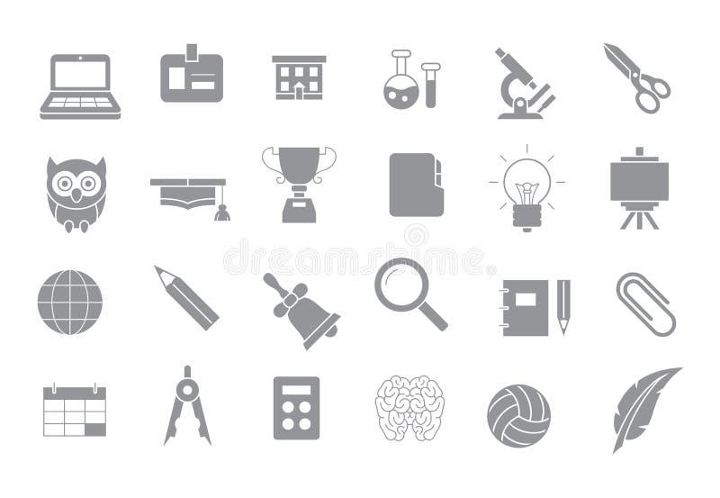 Szkolnych elementów szare ikony ustawiać ilustracja wektor