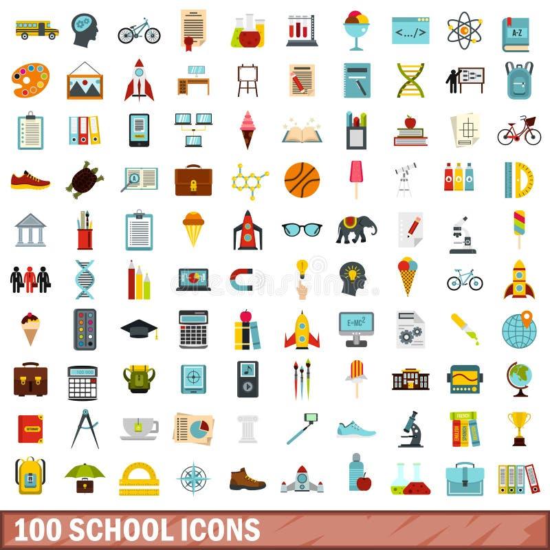 100 szkolnych ikon ustawiających, mieszkanie styl royalty ilustracja