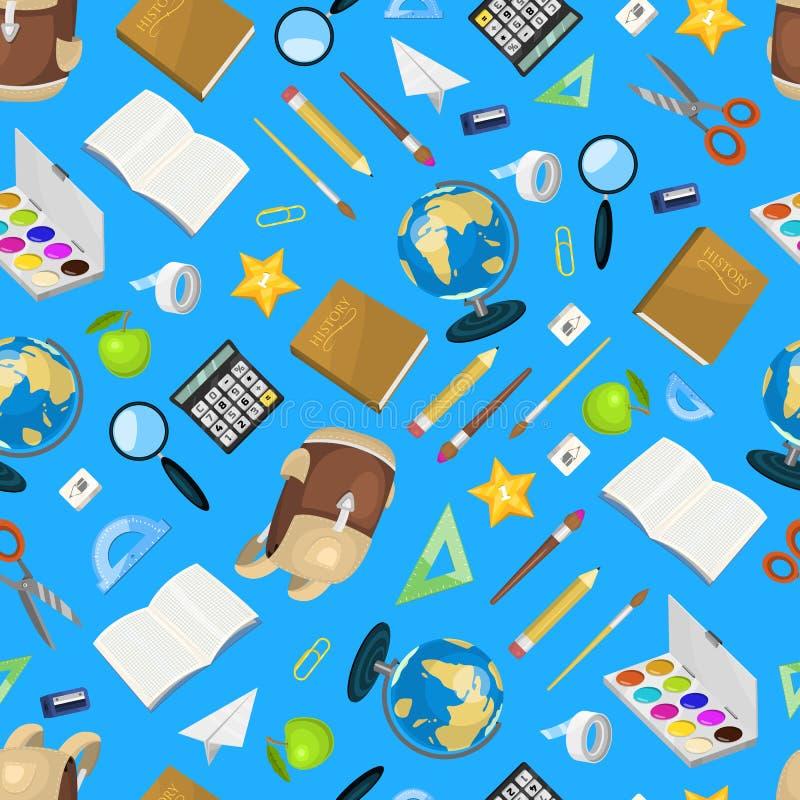 Szkolnych rzeczy tła wektoru bezszwowa deseniowa ilustracja tylna szkoły Dostarcza nożyce copybook ołówkową gumę ilustracja wektor