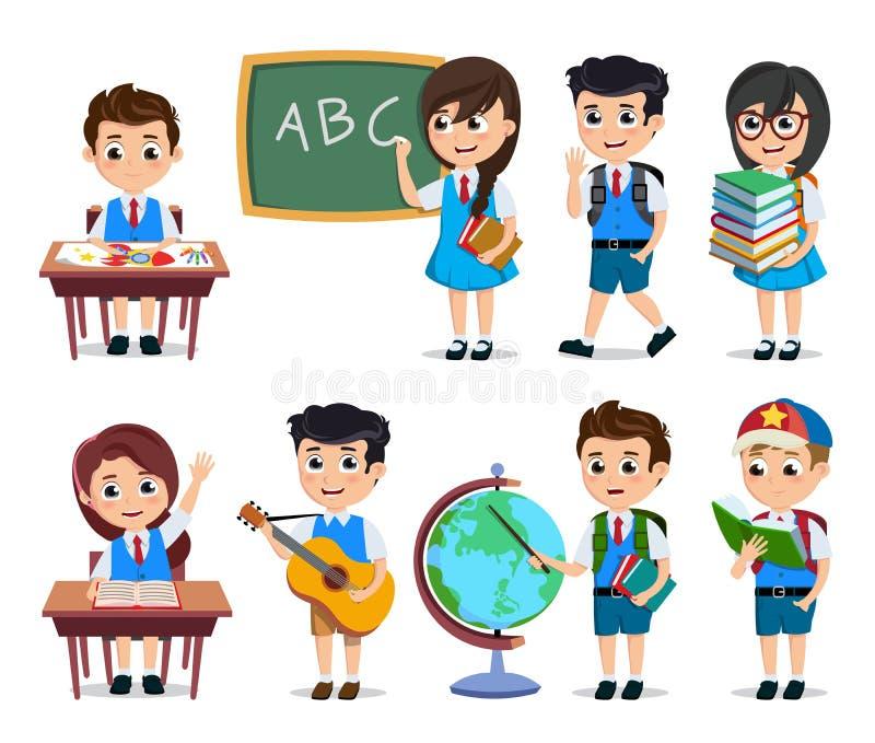 Szkolnych uczni wektorowi charaktery ustawiający Młode szczęśliwe dzieciak postacie z kreskówki robi edukacyjnym aktywność ilustracja wektor