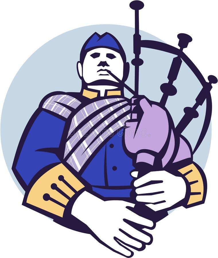 Szkotu Bagpiper gracza okrąg Retro ilustracja wektor