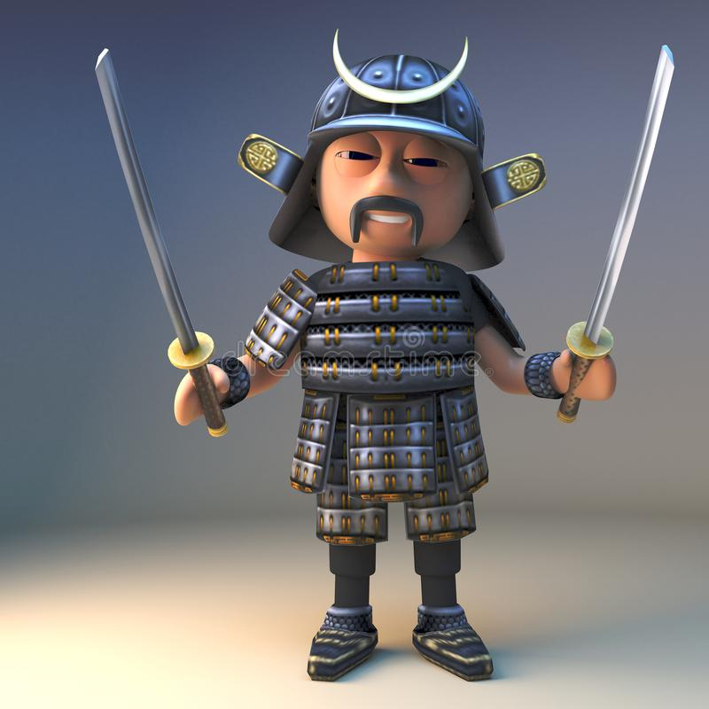 Szlachetny Japoński samuraja wojownik włada dwa możnego katany ostrza, 3d ilustracja royalty ilustracja