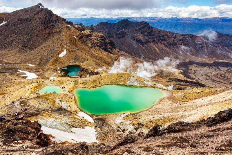 Szmaragdowi jeziora na Tongariro śladu Alpejskim skrzyżowaniu, Tongariro park narodowy obraz royalty free
