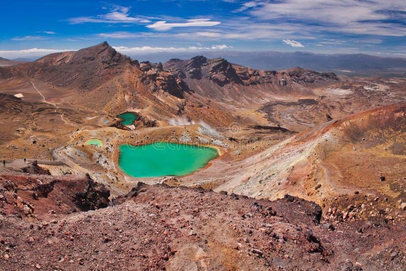 Szmaragdowi jeziora na Tongariro śladu skrzyżowaniu, jeden piękne trekking trasy w Nowa Zelandia obrazy royalty free