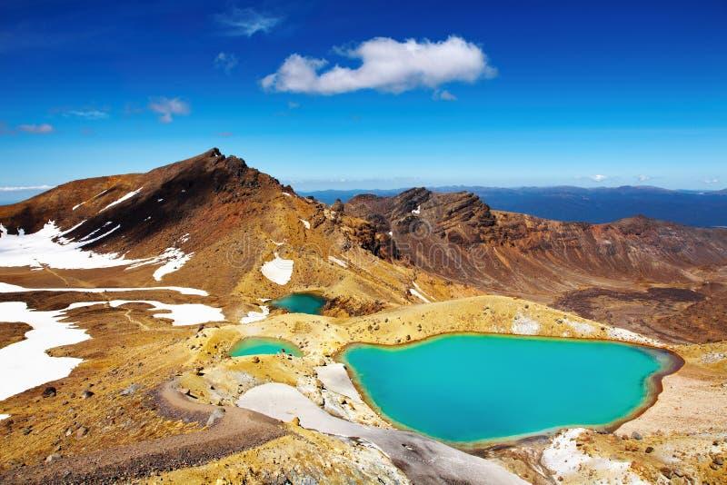 szmaragdowi jeziora nowy Zealand zdjęcia stock