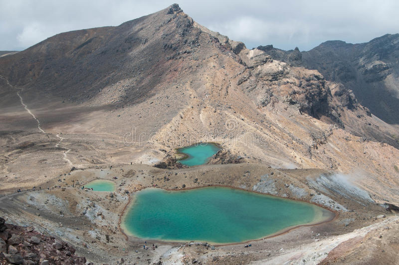 Szmaragdowi jeziora Tongariro skrzyżowanie fotografia royalty free