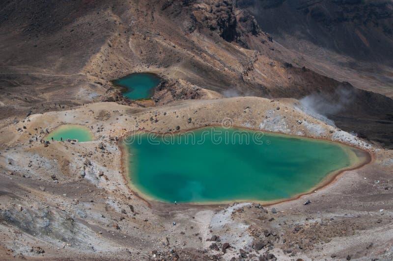 Szmaragdowi jeziora Tongariro skrzyżowanie zdjęcia stock