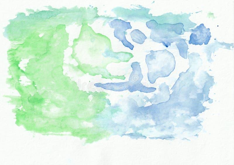 Szmaragdowy chabet i lazur mieszaliśmy akwareli horyzontalnego gradientowego tło royalty ilustracja