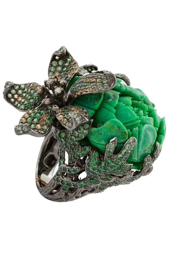 Szmaragdu pierścionek zdjęcia royalty free