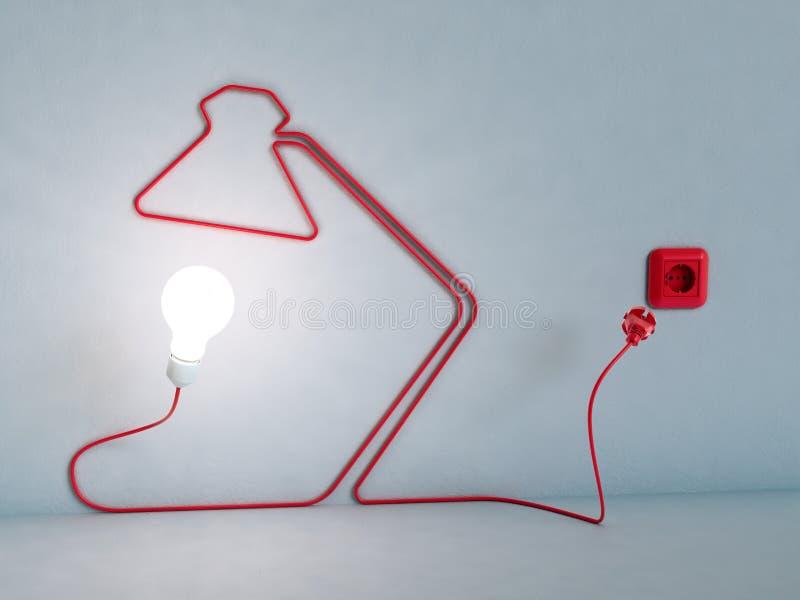 sznura biurka elektryczna lampa kształtująca zdjęcie royalty free