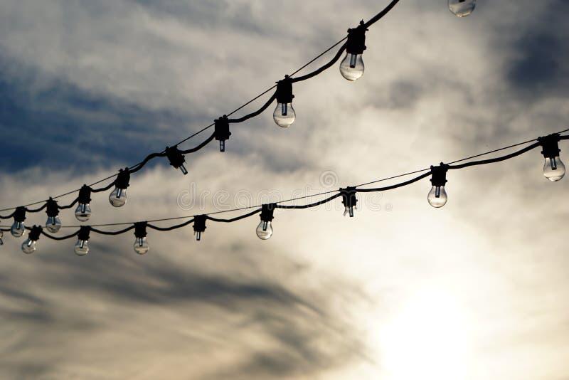 Sznurek światła w czarny i biały fotografia stock