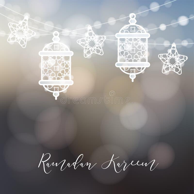Sznurek ornamentacyjni arabscy lampiony, światła i gwiazdy, Nowożytny świąteczny zamazany wektorowy ilustracyjny tło dla muzułmań ilustracja wektor
