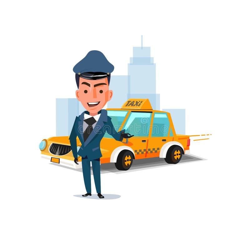 Szofer z jego taxi samochodem Charakteru projekt taxi usługowy conc ilustracji