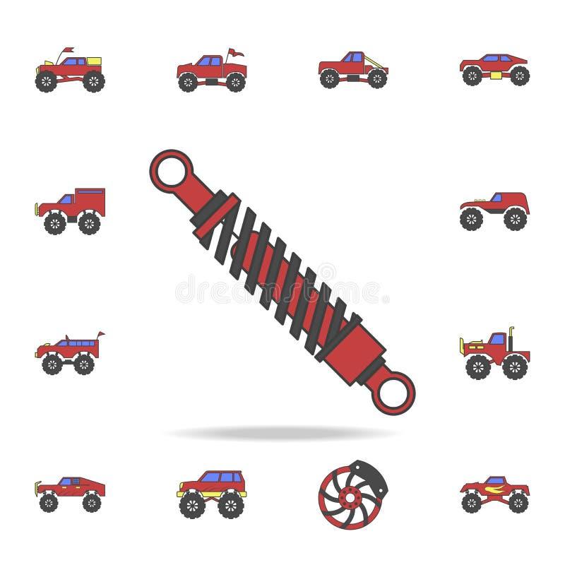 szoków absorberów śródpolny coloricon Szczegółowy set kolor duże nożne samochodowe ikony Premia graficzny projekt Jeden inkasowe  royalty ilustracja