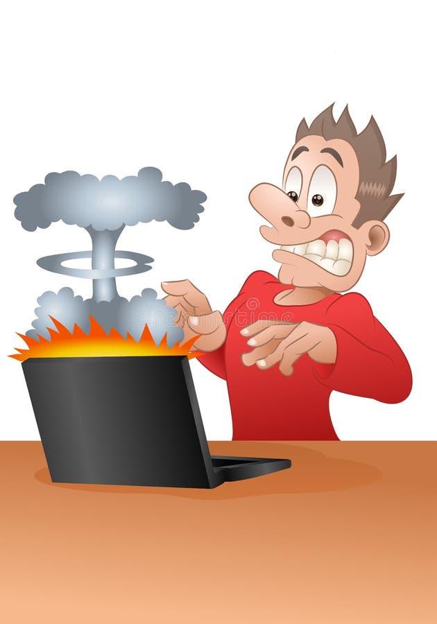Szok od wybucha laptop royalty ilustracja