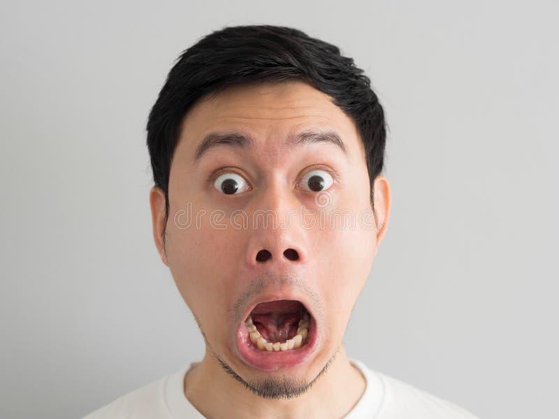 Szok twarz mężczyzna głowy strzał zdjęcie stock
