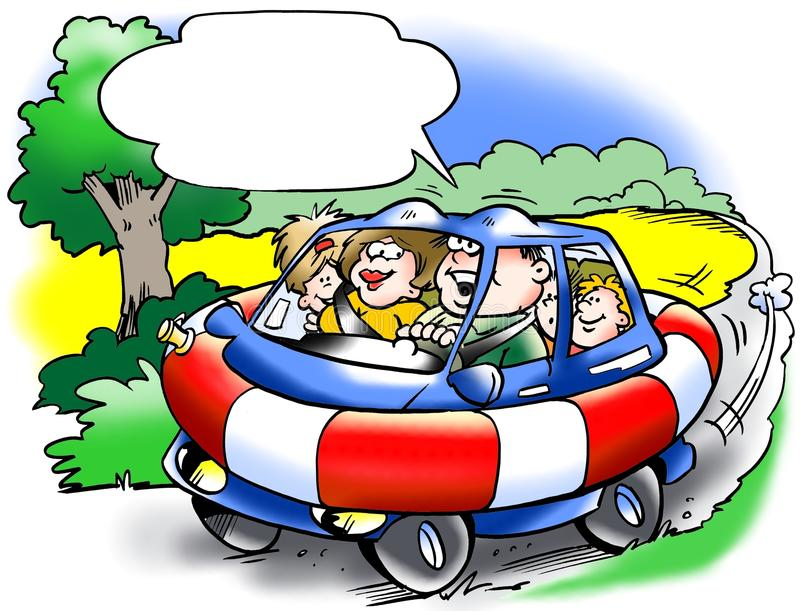 Szoka odporny rodzinny samochód ilustracji