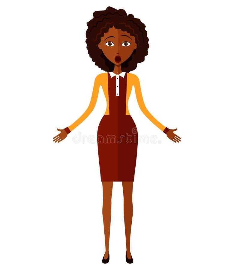 Szokująca Afrykańska młoda kobieta odizolowywająca na białym tle wektor obrazy royalty free