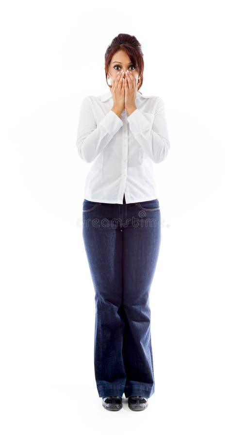 Download Szokująca Indiańska Młoda Kobieta Zakrywa Jej Twarz Zdjęcie Stock - Obraz złożonej z przód, osoba: 41951204